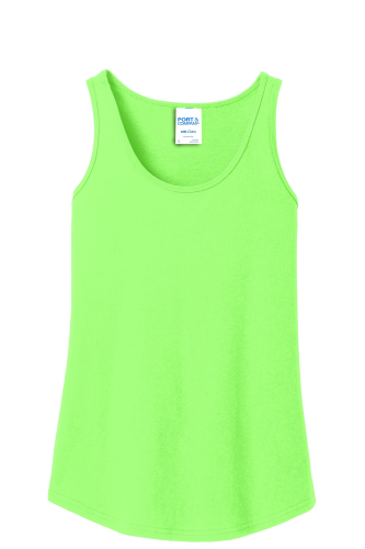 9e8fbceaeff8e Custom Screen Printed Port   Company Ladies 5.4-Oz 100% Cotton Tank Top  Neon Green